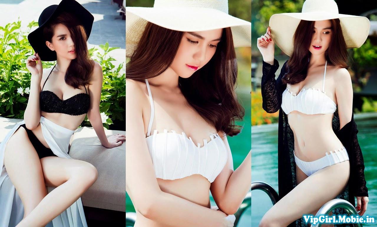 Ngọc Trinh Gợi Cảm Cuốn Hút Với Bikini Bên Bể Bơi